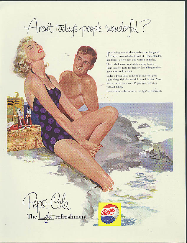 Aren't today's people wonderful? Pepsi-Cola ad 1956 Bowler pin-up swimsuit art
