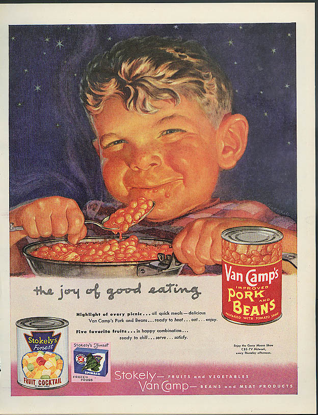 Image for The Joy of Good Eating Van Camp's Pork & Beans ad 1953 rosy-cheeked boy