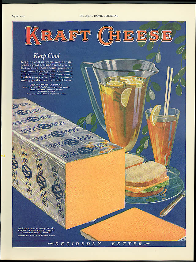 Image for Keep cool in warm weather depends on what you eat Kraft Cheese ad 1925