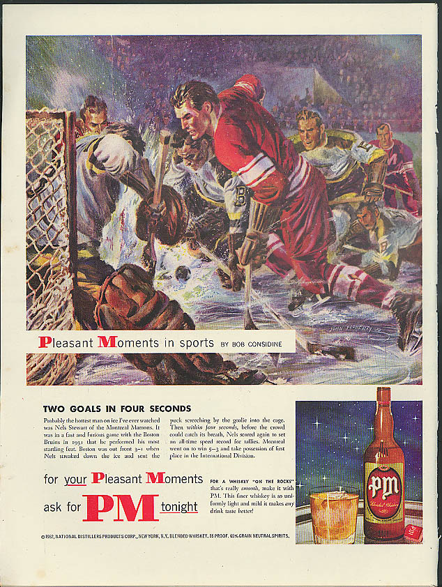 Image for Two goals in 4 seconds Nels Stewart PM Blended Whiskey ad 1952 Bob Considine