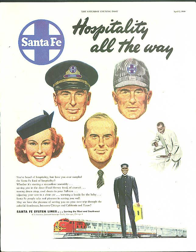 Hospitality all the way Santa Fe Railroad ad 1949