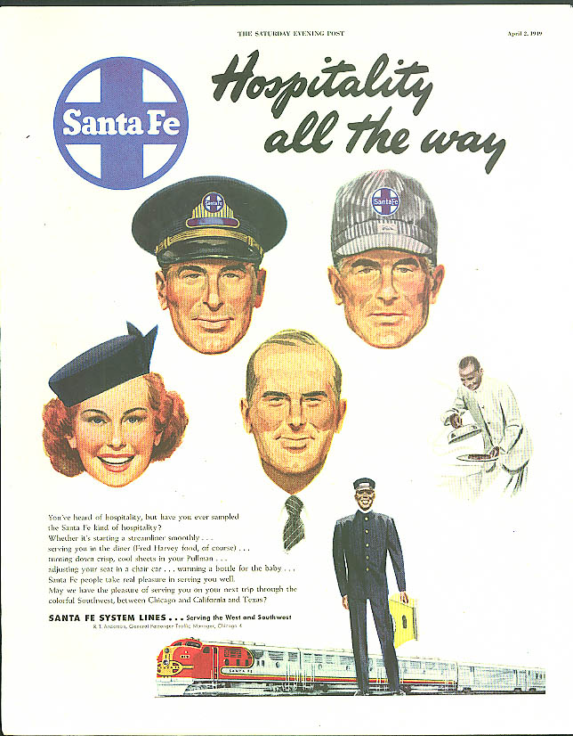 Image for Hospitality all the way Santa Fe Railroad ad 1949