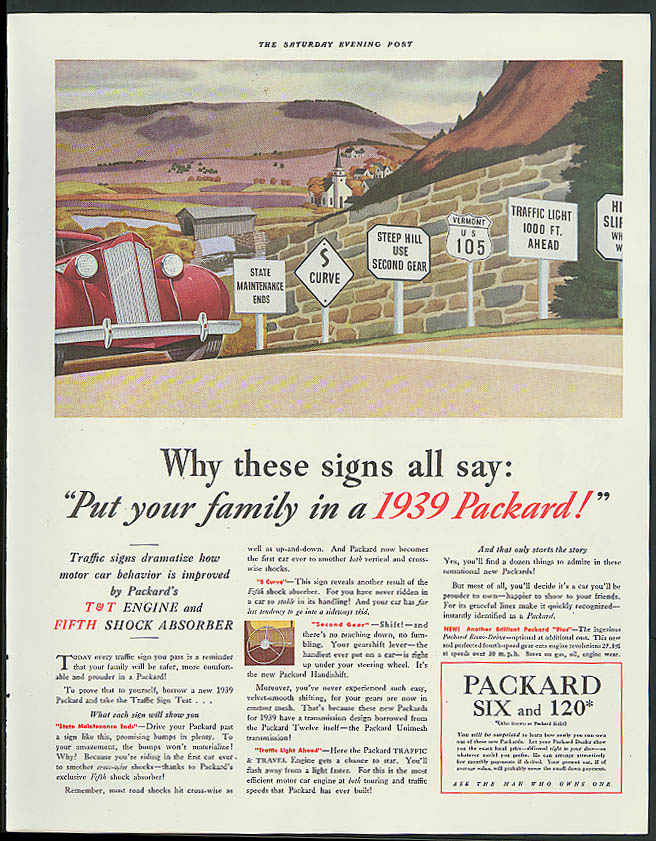 Why these signs all say Put your family in a 1939 Packard ad