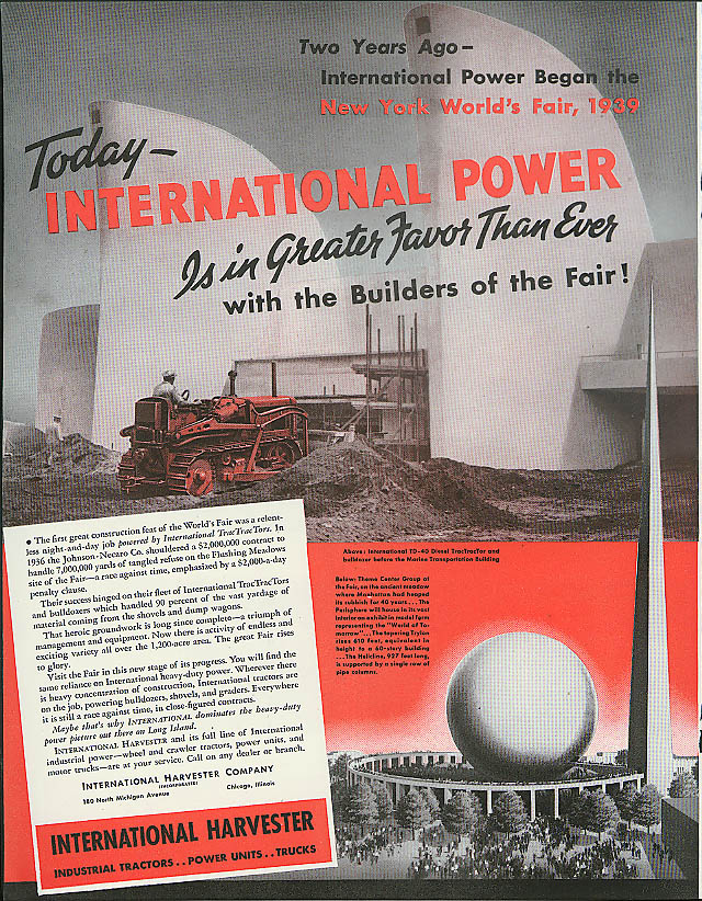 International Tractor Power Builders of 1939 New York World's Fair ad 1938