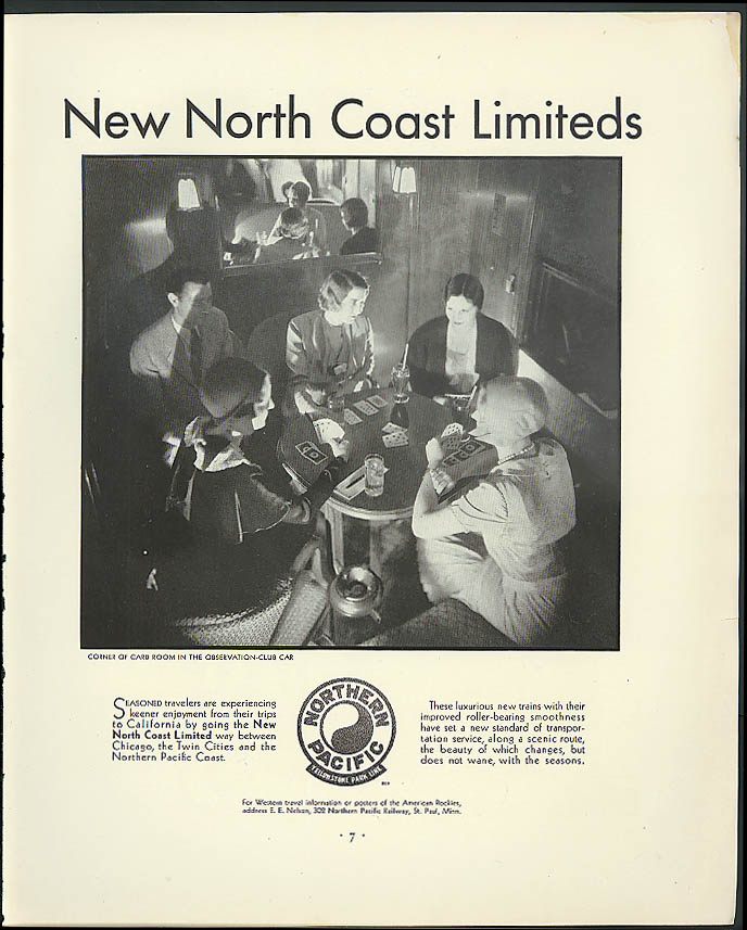Image for Observation Car Card Room Northern Pacific RR North Coast Limited ad 1930
