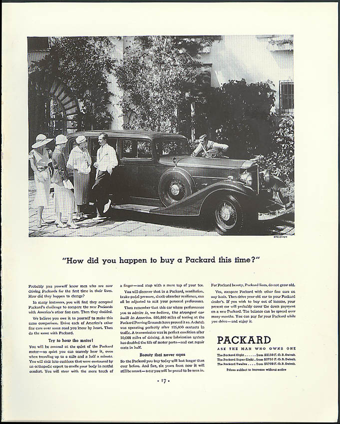 How did you happen to buy a Packard this time? Ad 1933 Edward Steichen photo