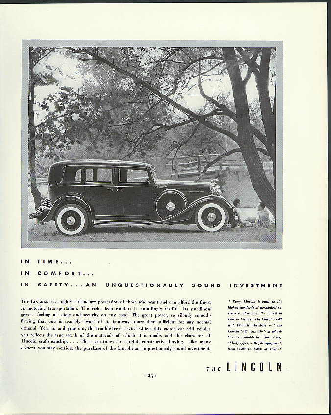 Image for In time comfort safety an unquestionably sound investment Lincoln V-12 ad 1934