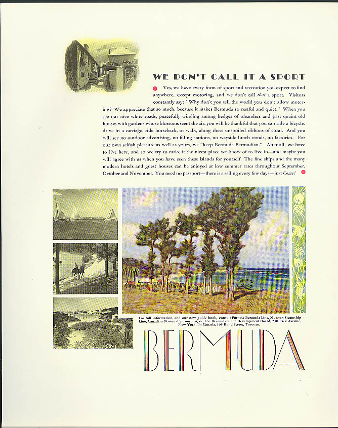 We don't call it a sport Bermuda Trade Development tourism ad 1933