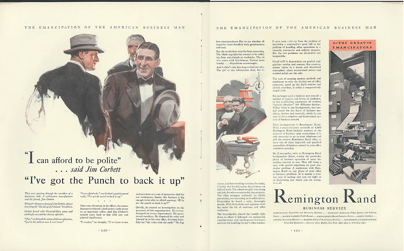 Image for I've got the punch to back it up Boxer Jim Corbett Remington Rand ad 1930