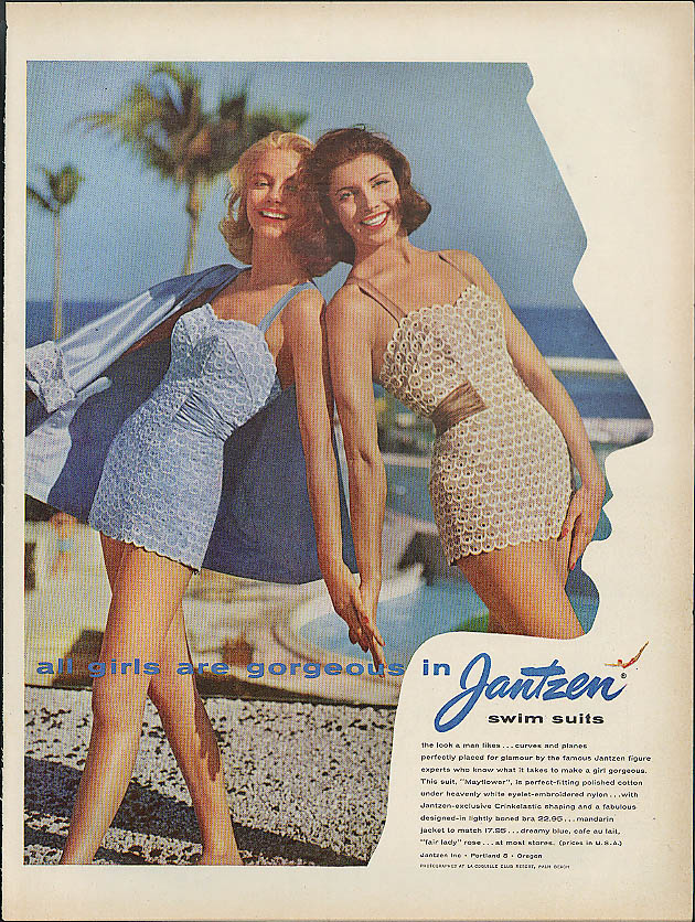 All girls are gorgeous in Jantzen Swimsuits ad 1957