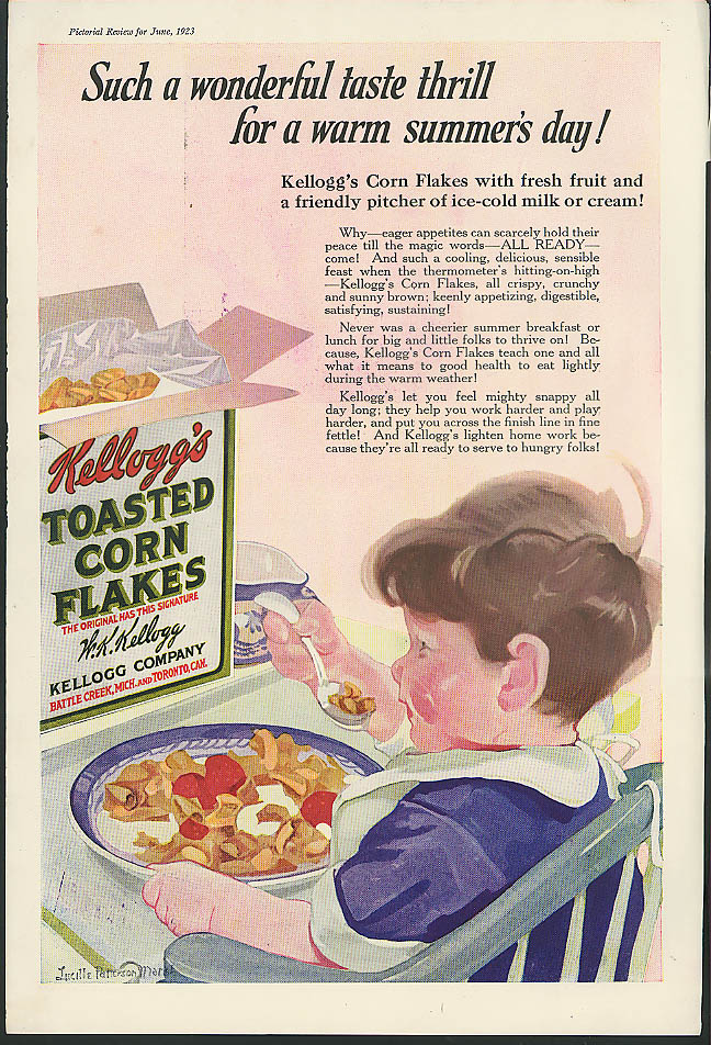 A taste thrill for summer Kellogg's Corn Flakes ad 1923 Lucille Patterson Marsh