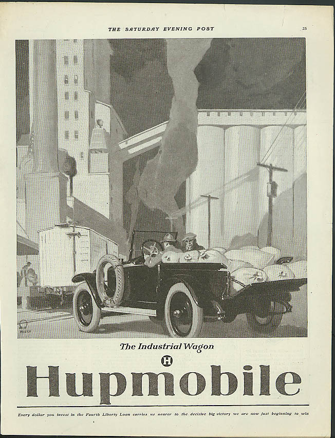 Image for Hupmobile - the Industrial Wagon grain truck ad 1918