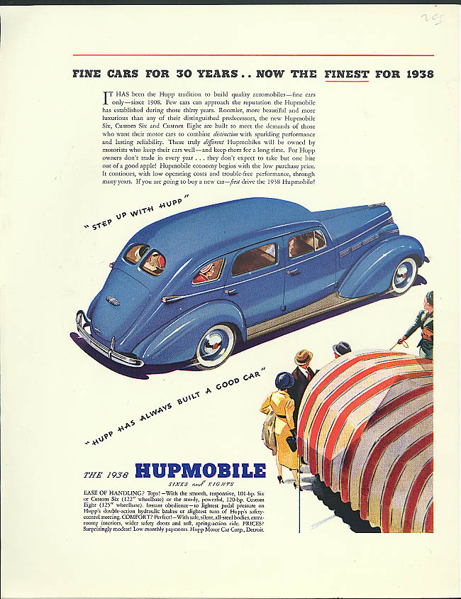 Fine cars for 30 years now the finest Hupmobile for 1938 ad