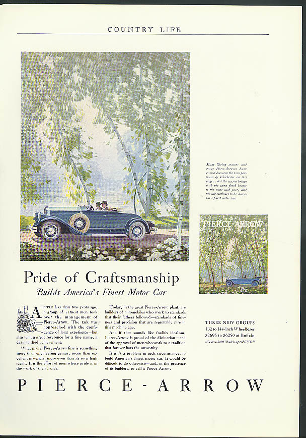 Pride of Craftsmanship build's America's finest Pierce-Arrow ad 1930