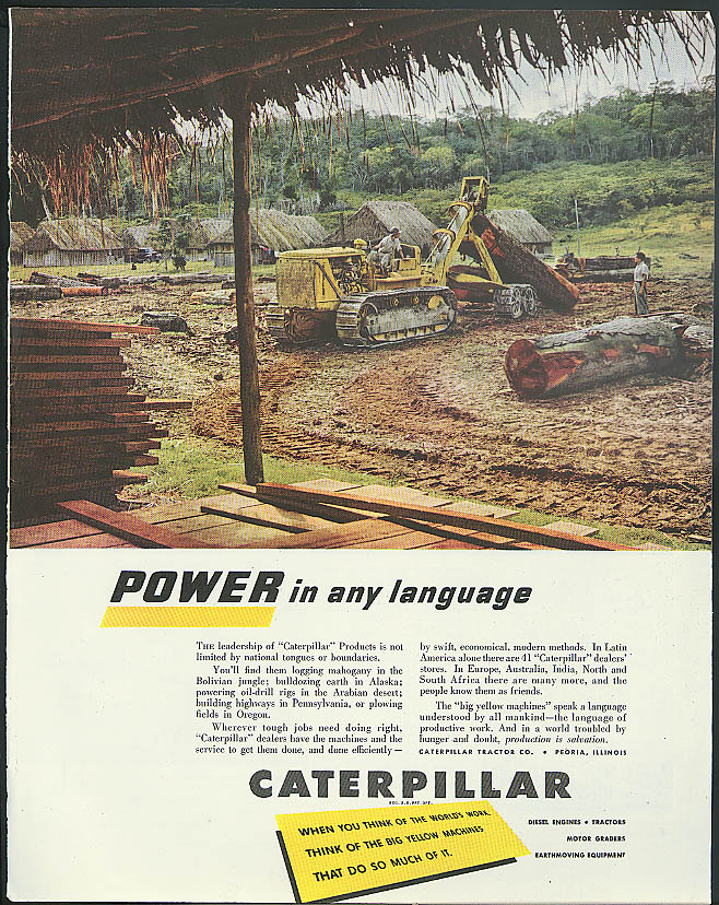 Image for Power in any language Caterpillar Diesel Tractor ad 1950