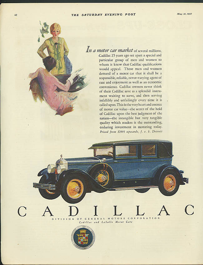 In a motor car market of several millions Cadillac ad 1927 Sat Eve Post