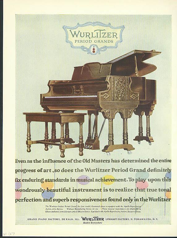 50 Body Styles & Types Cadillac / Wurlitzer Period Grand Piano ad 1927
