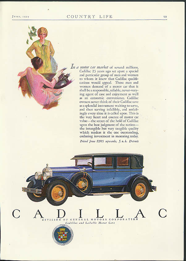 In a motor car market of several millions Cadillac ad 1927 Country Life