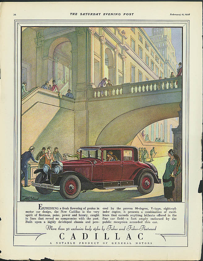 Expressing a fresh flowering of genius Cadillac Coupe ad 1928