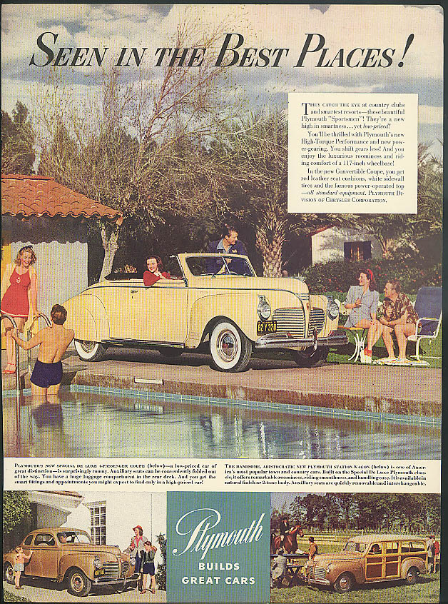 Image for Seen in the Best Places Plymouth Coupe Station Wagon Convertible ad 1941