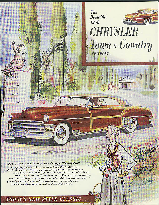 Image for The Beautiful 1950 Chrysler Town & Country Newport ad
