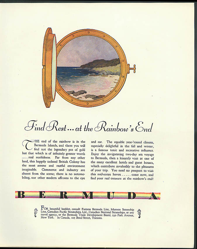 Find Rest at the Rainbow's End Bermuda Trade Board tourism ad 1931