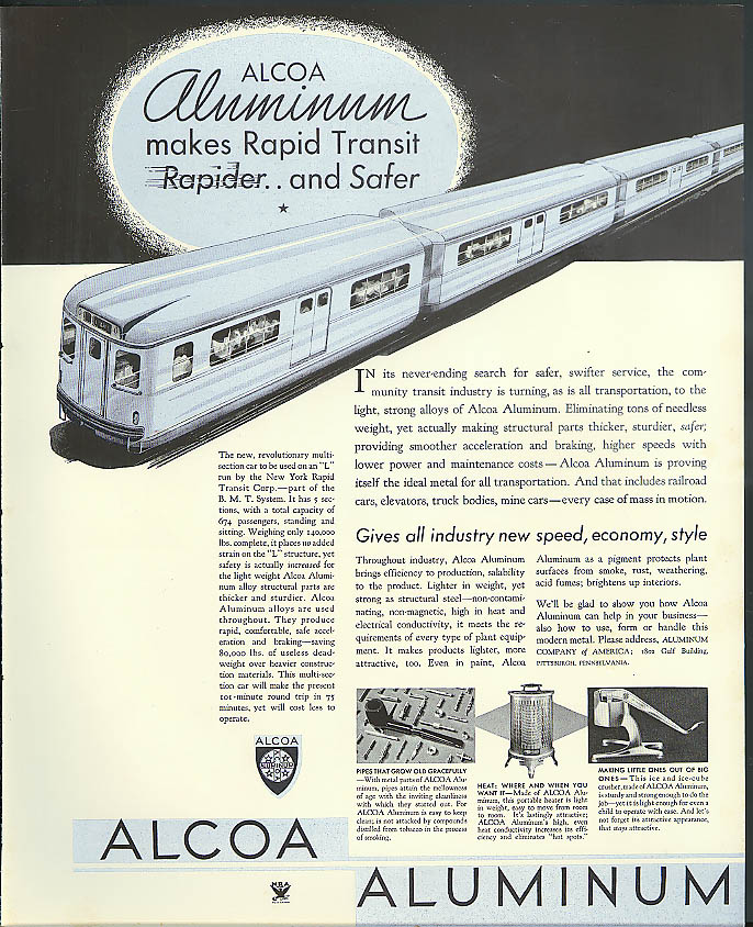 Image for Alcoa Aluminum NY City Rapid Transit car / Lektrolite Lighters ad 1933