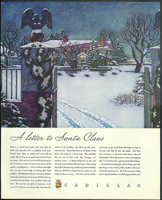 A letter to Santa Claus Cadillac ad 1934 1933