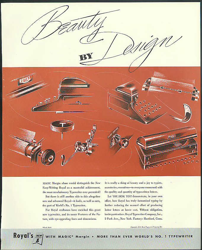 Beauty by Design Royal Magic Margin Typewriter ad 1939