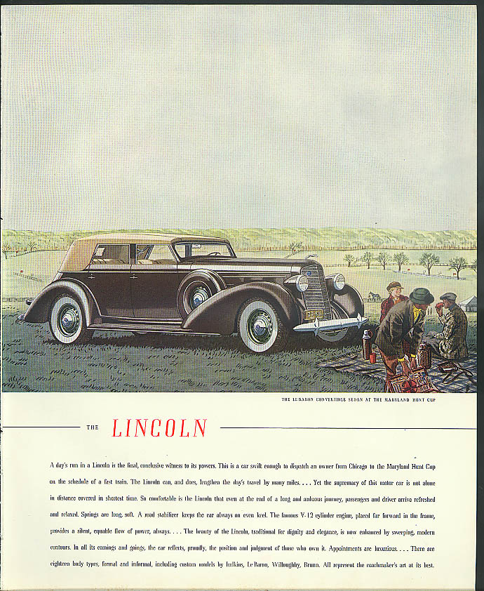 A day's run in a Lincoln is final witness Le Baron Convertible Sedan ad 1936