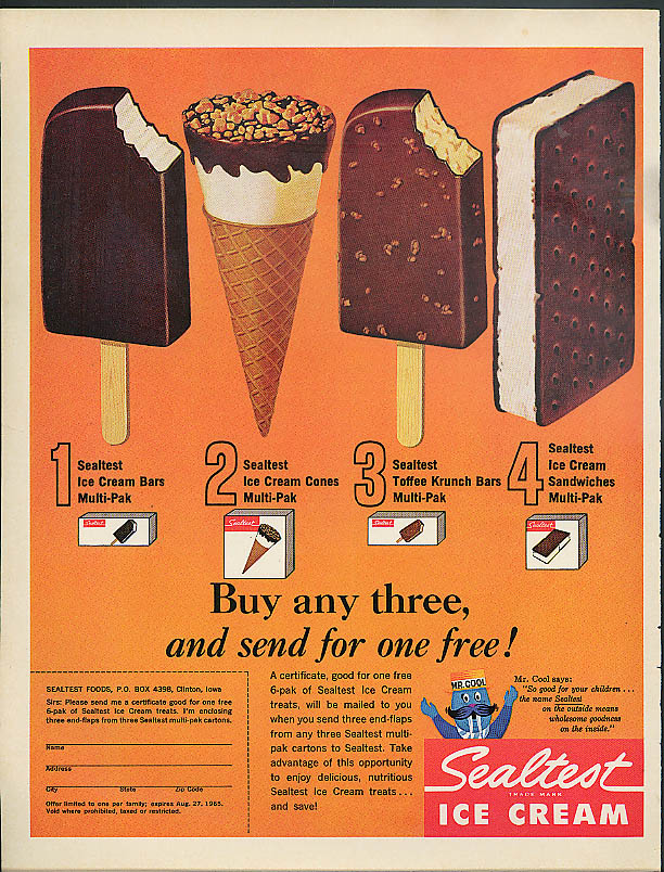 Sealtest Ice Cream Bar Cone Toffee Crunch Bar Ice Cream Sandwich ad 1965