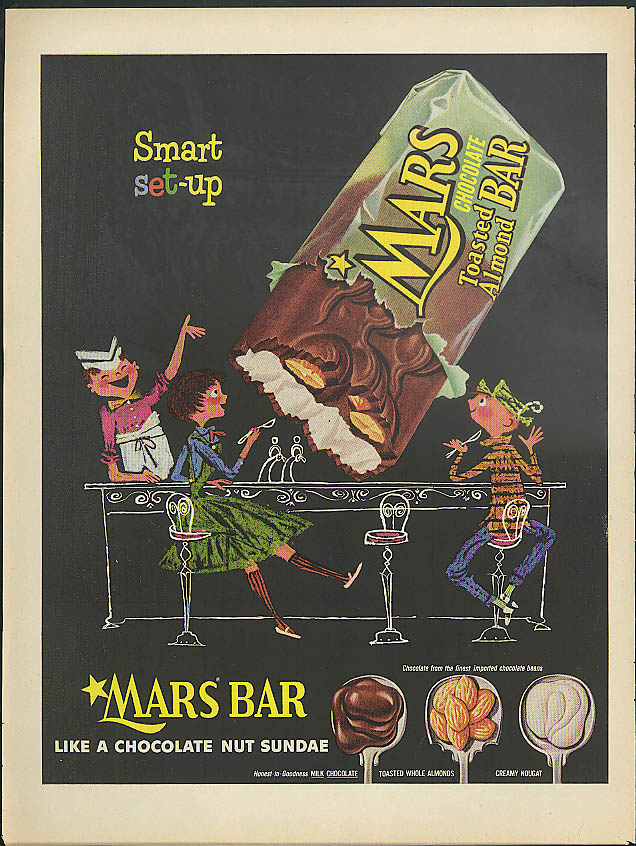 Image for Smart set-up Mars Chocolate Toasted Almond Bar ad 1955 soda fountain