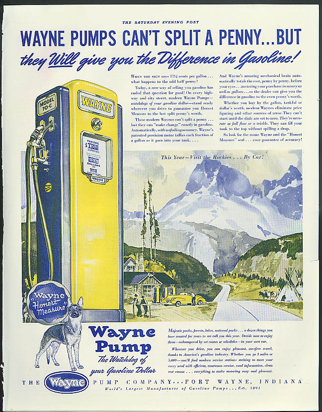 Image for Wayne Gasoline Pumps can't split a penny but . . . Ad 1941