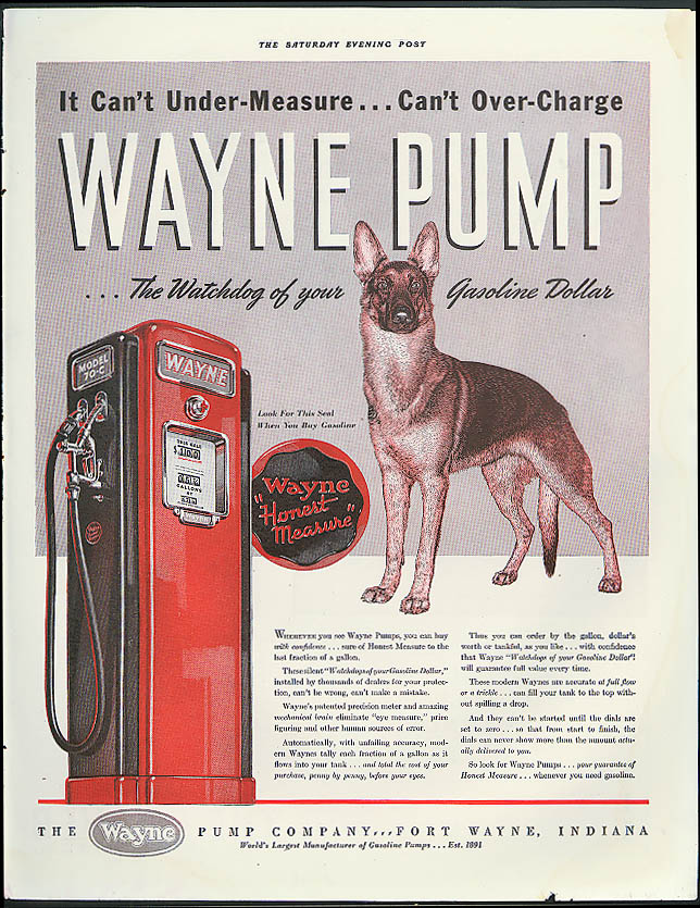 Image for Wayne Gasoline Pumps can't undermeasure / Hoover Vacuum Cleaner ad 1941