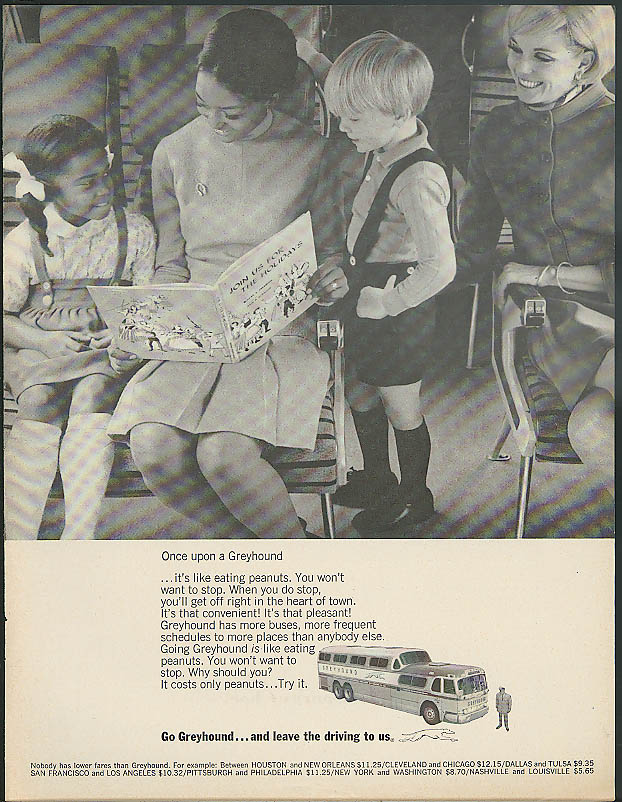 Once upon a Greyhound bus ad 1968 Negro & white Moms & kids