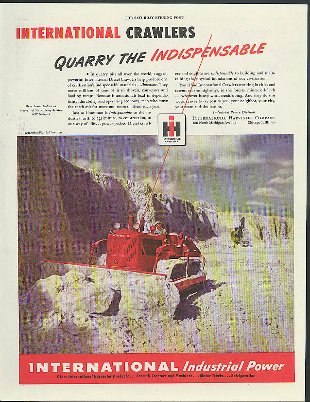 Image for Quarry the Indispensable International Crawler Tractors ad 1947