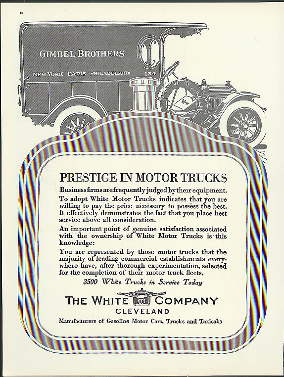 Image for Prestige in Motor Trucks White Truck ad 1913 Gimbel Brothers delivery van