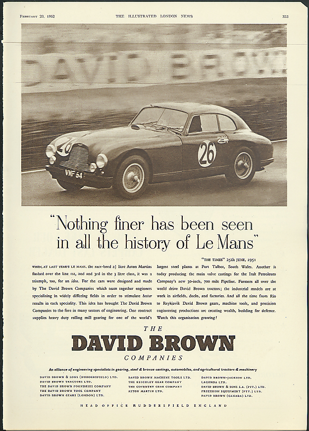 Image for Nothing finer has been seen at Le Mans Aston Martin DB2 ad 1952