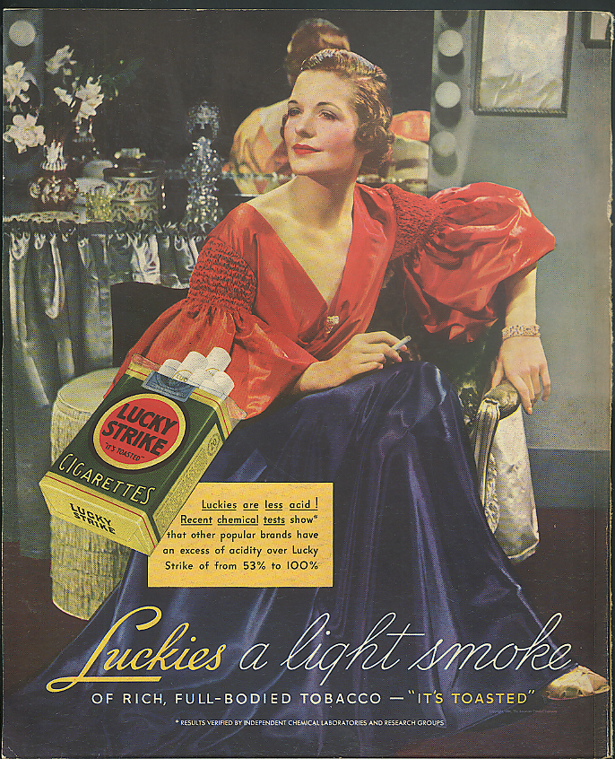 Image for Luckies are less acid! Lucky Strike Cigarettes ad 1936