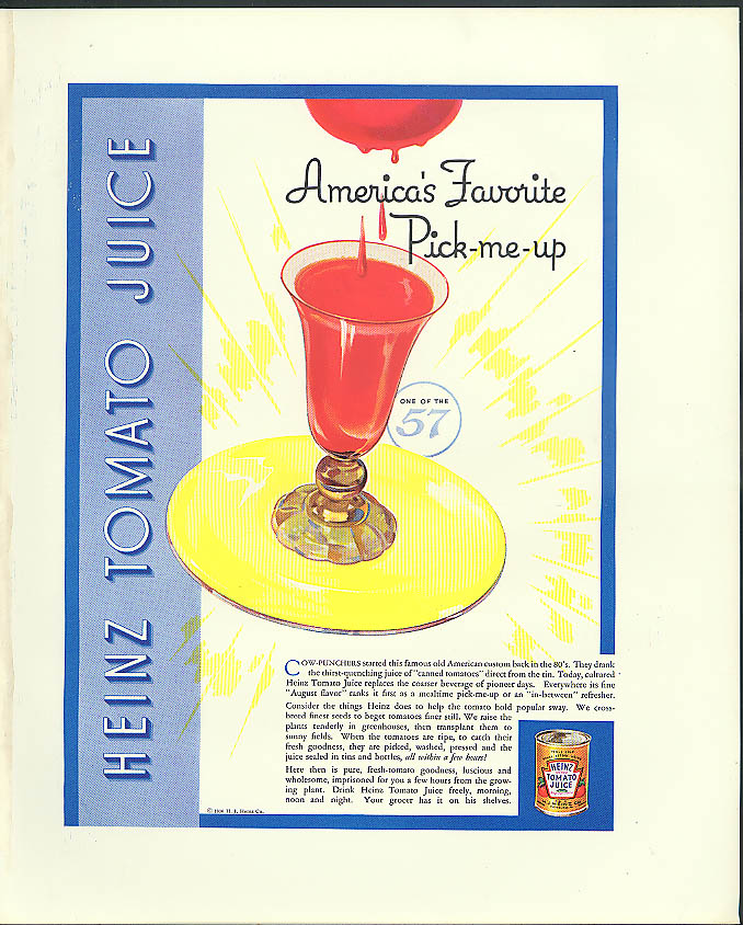 America's Favorite Pick-me-up Heinz Tomato Juice ad 1936