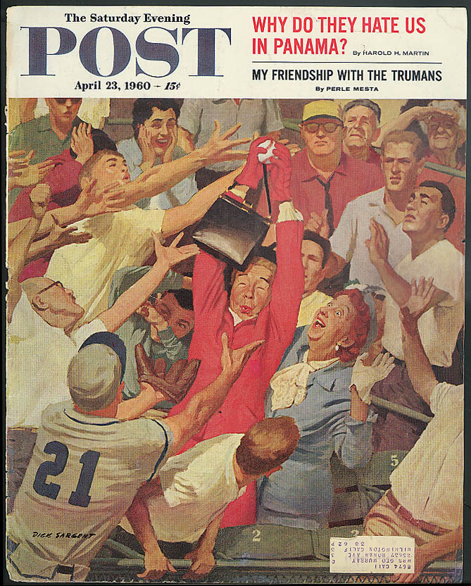 Image for Old lady catches homerun baseball Saturday Evening Post COVER 1960