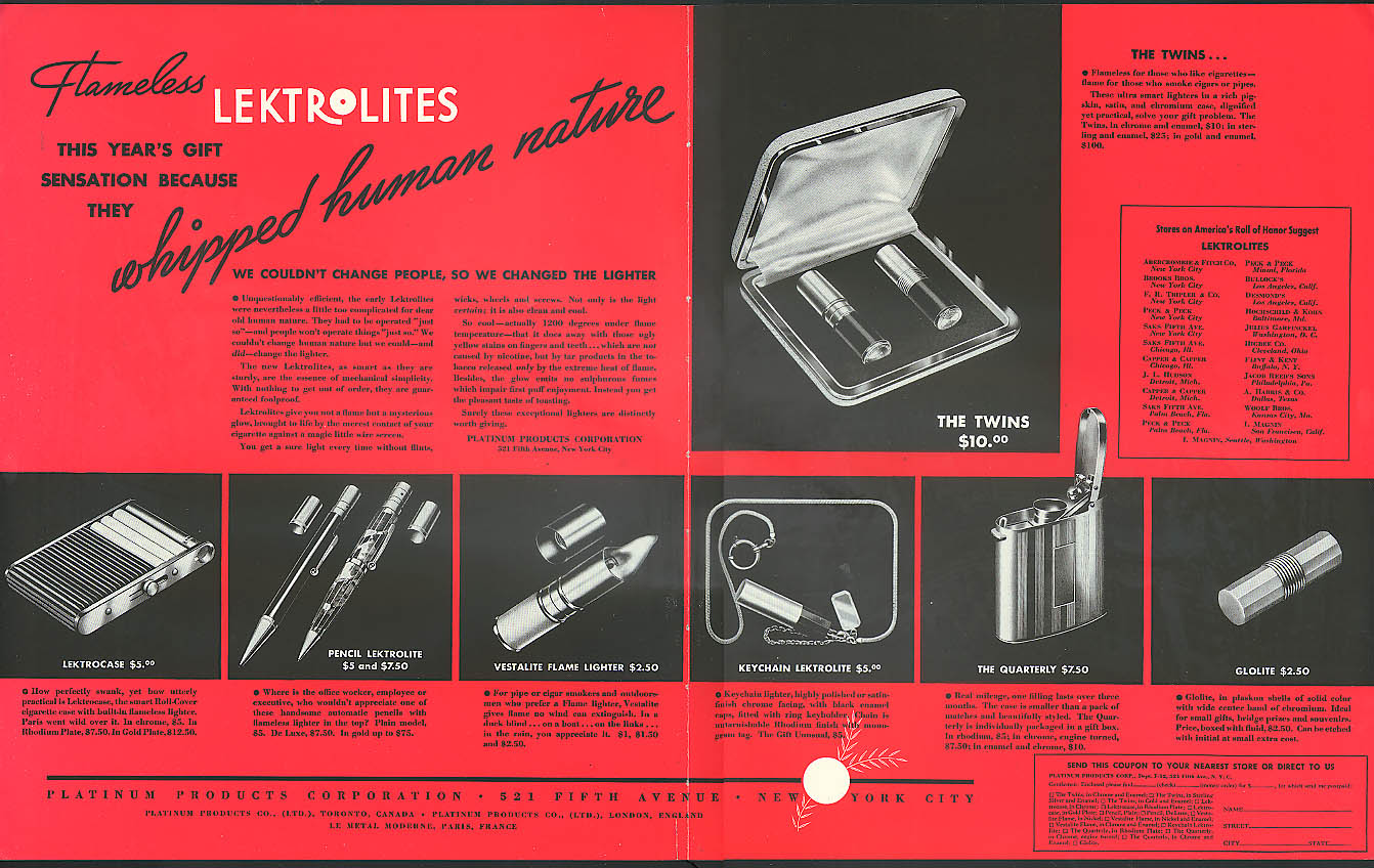 Image for Flameless Lektrolite cigarette lighters whipped human nature ad 1935