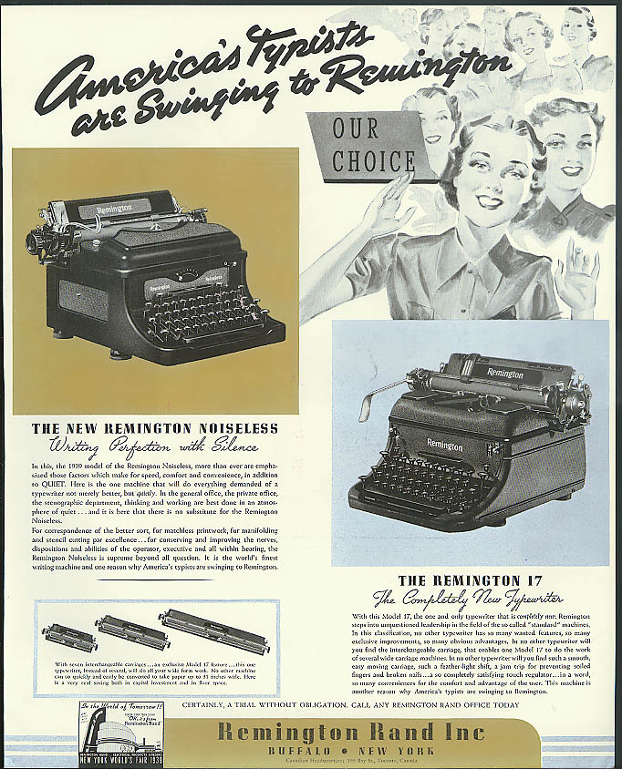 America's Typists are Swinging to Remington Typewriters ad 1939
