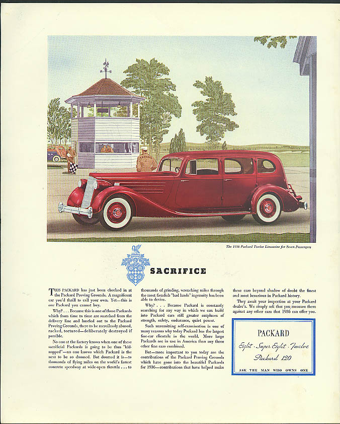 Sacrifice . . Packard Twelve Limousine for Seven at Proving Grounds ad 1936