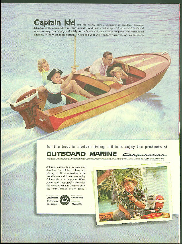 Captain Kid Johnson Outboard Marine ad 1957 pirate
