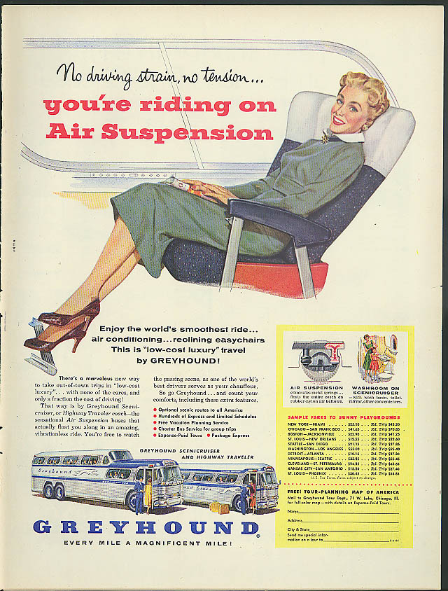 You're riding on Air Suspension Greyhound Scenicruiser Bus ad 1955