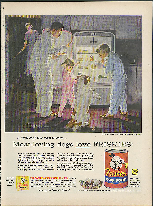 Image for Meat-loving dogs love Friskies dog food ad 1956 Douglass Crockwell art