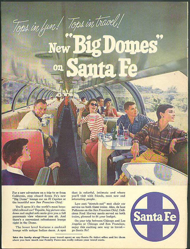 Image for Tops in fun! Tops in travel! New Big Domes on Santa Fe Railroad ad 1954