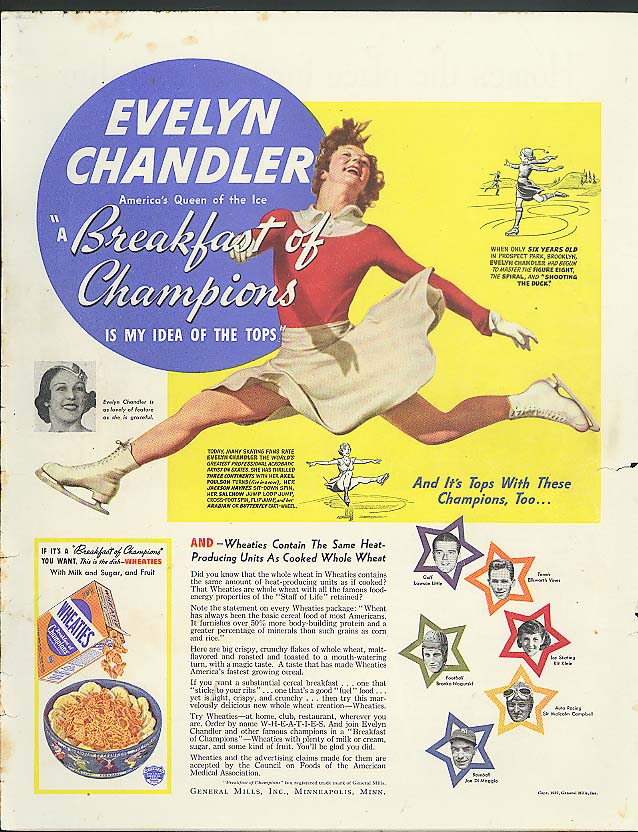 Image for Skater Evelyn Chandler for Wheaties Breakfast of Champions ad 1937