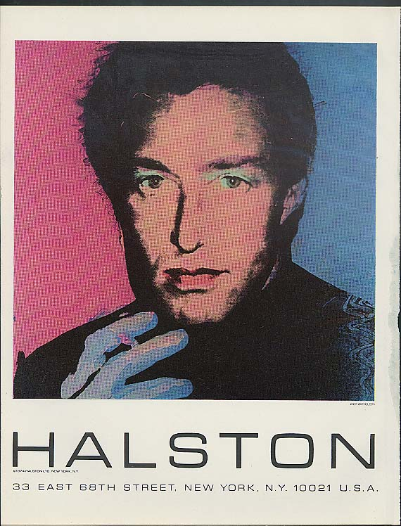 Halston 33 East 68th Street New York Andy Warhol illustrated ad 1974 #1